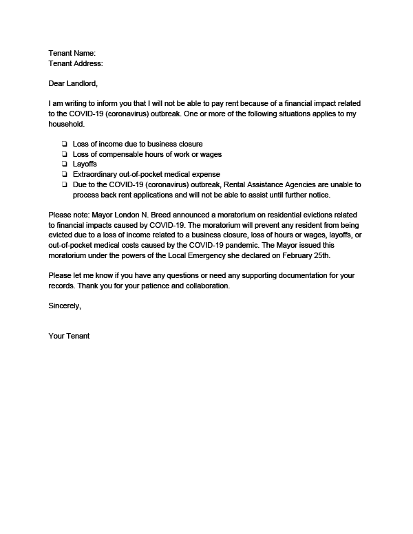 Letter To Evict Tenants from evictiondefense.org